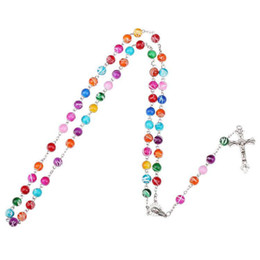 Wholesale Pendant Religious - 2018 Colorful Polymer Clay Bead Rosary Pendant Necklace Alloy Cross Virgin Mary Centrepieces Christian Catholic Religious Jewelry