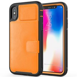 sealing plastic for iphone Promo Codes - For iphone X XR Max Seal of The Lion's Head Leather Shockproof Defender wallet Cases with Credit Card Holder Slot for XS 8 dhl SCA513
