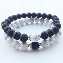 Wholesale round beaded bracelets - New fashion natural stone Round Shape Beads Lava chakra healing Beaded Charm Bracelets Jewelry Lover Gift free shipping