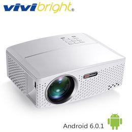 sistema de jogos de video por atacado Desconto VIVIBRIGHT 1800 Lumens Projetor LED GP80 / GP80UP. (Android 6.0.1 opcional, WIFI, Bluetooth Beamer Simples) para TV Home Theater LED