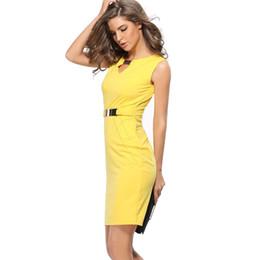 vestidos amarillos sólidos Rebajas Vestido de las mujeres del verano 2017 partido de Sexcy sólido sólido Pencile algodón Prom amarillo rojo azul Club Dress Sashes Plus Party Work Dresses