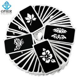 gabarit pochoir Airbrush OPHIR 50 PCS (série 5) pour tatouage provisoire scintillant feuilles de gabarit au henné _TA032 (... ? partir de fabricateur