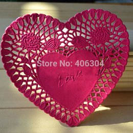 Wholesale Cake Doilies - Free shipping, hot pink heart paper doilies,6inch=15.2cm, paper lace doilies placemat,cake package