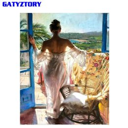 Wholesale modern woman figure art - GATYZTORY Frameless DIY Painting By Number Women Figure Painting Wall Art Picture Modern Calligraphy For Home Art 40x50