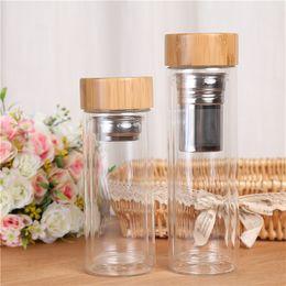 wholesale 10pcs 450ml Bamboo Lid Double Walled Glass Tea Tumbler Includes Strainer Infuser Basket Water Bottle ? partir de fabricateur