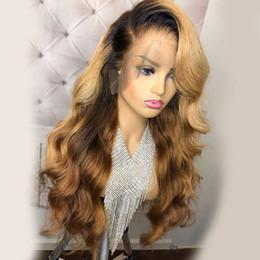 2019 волосы волны волны китайского взрыва Медовая блондинка парик фронта шнурка Glueless полные парики шнурка человеческие волосы парик Ombre черные корни 1B 27 объемная волна бразильских волос девственницы