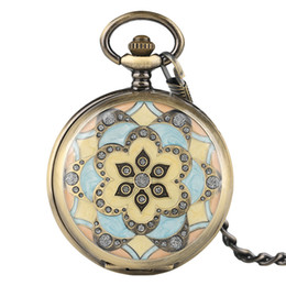 Wholesale Cool Pocket Watches - Luxury Retro Bronze Unique Flower Design Hand Wind Mechanical Fob Pocket Watch Steampunk Cool Vintage Pendant Gift with Chain