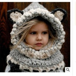 вязание крючком детей шею теплее Скидка Baby Hat And Scarf Joint With Animal Style Crochet Knied Caps for Infant Boys Girls Children New Fashion Kids Neck Warmer