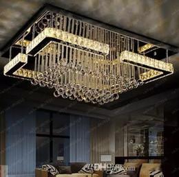 Wholesale rectangular chandelier lighting - high quality modern LED chandelier crystal lamp rectangular chandelier light lustre living room lights free shipping LLFA