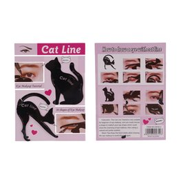 Wholesale eye stencil kit - 2Pcs Set New Cat Line Eye Makeup Eyeliner Stencils Templates Makeup Tools Kits For Eye Beginners Efficient Eyeline Card Tools DHL ship