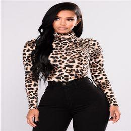 Ladies Casual Turtleneck Tops Women Sexy Autumn Slim Fit Long Sleeve  Leopard Print T-Shirt 7d3a54d69