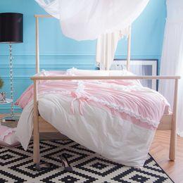 Wholesale Lotus Bedding - IvaRose 100% Cotton Girls Bedding set Princess Style Lotus Leaf Korea Style Bed set king queen size bed sheet Duvet cover