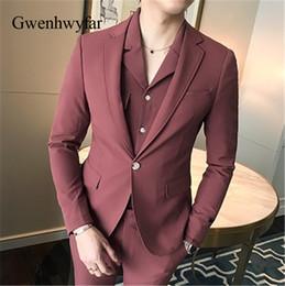 226756e67 Gwenhwyfar Top Fashion Gentlemen Men Trajes 2 piezas 2018 Ropa casual Hombres  jóvenes Traje Fiesta de bodas Baile de esmoquin rojo (chaqueta + pantalones)