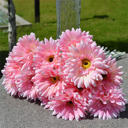 Wholesale Silk Wedding Bouquet Daisies - 10pcs lot Gerbera Daisy Artificial Flowers for home Decoration Silk Sunflower Bouquet flowers Wedding Garden Home Party Decor
