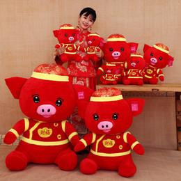 лучшие рождественские игрушки для детей Скидка 2019 Новый год милый благословение свинья плюшевые игрушки куклы свинья Год талисман чучела животных игрушки для детей лучший рождественский подарок 35 см/14 дюймов C5308