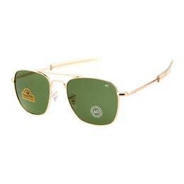 occhiali da sole ao Sconti 2018 New Fashion Army AO Pilot 53mm Occhiali da sole Marca americano Lente in vetro ottico Occhiali da sole Oculos De Sol Masculino