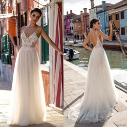 Wholesale Chic Crystals - Gali Karten 2018 Wedding Dresses Bridal Gowns Lace Applique Bohemian Spaghetti Straps V-Neck Backless Floor Length Custom Made Chic