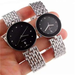 Wholesale mirror battery - New Elegant classic couples watches quartz movement stainless steel strap crystal diamond membrane mirror High Quality