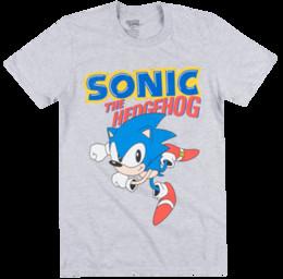 Giochi classici di sega online-Sonic The Hedgehog Sega Grey Vintage Classic Gioco Mens maglietta autentica Sega