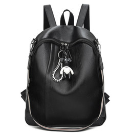 Корейские школьные сумки онлайн-Fashion designer  Women black Backpack pu soft leather Korea Style with strap back pack school bags for teenage girl