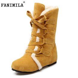 Wholesale B 52 - FANIMILA Size 30-52 Women Round Toe Height Increasing Mid Calf Boots Woman Cross Strap Warm Fur Winter Half Shoes Footwear