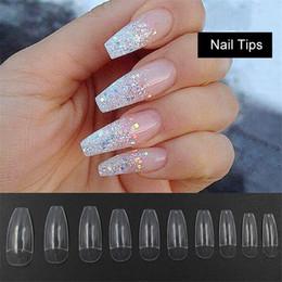 Chiodi artificiali di arte falsa online-500 pz punte lunghe per ballerina mezza unghie chiare bara unghie finte ABS artificiale fai da te falsi gel UV falsi nail art suggerimenti di alta qualità