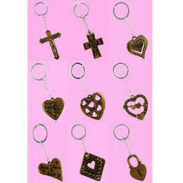 Wholesale Rhombus Ring - Stainless Steel Key Chains Acrylic Pendant Mix 9 Styles Jesus Cross Love Heart Rhombus Lock Key Rings Keychain Keyring Accessories (JK005)