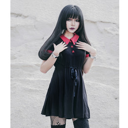 Rotes peter pankragenkleid online-Gothic Kleid Rot Peter Pan Kragen Chic Skull Taste A-Line Casual Baumwolle Frauen Kleider Doom Dress