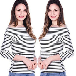 Wholesale Striped Maternity - Maternity Striped Clothes Breastfeeding Long Sleeve Off Shoulder T-shirt 2017 Newest Nursing Top Tee Pregnant Women Useful Suit