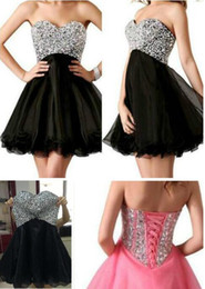 Wholesale Black Shin - Cheap Homecoming Dresses Shinning Sequin Sweetheart A Line Short Organza Cocktail Party Gowns New Hot Sale 2014 cocktail dresses