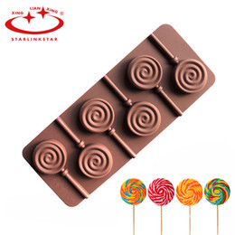 Wholesale Lollipops Molds - Wholesale- 1pc 6 Holes Round Chocolate Lollipop Mold Lolly Pop Silicone mould Ice Cube Cookie Cupcake Molds