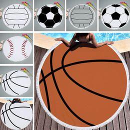 vêtements de volleyball Promotion Gland rond Baseball Softball Serviette de plage Polyester Volleyball Pique-nique Plage Couverture Tapis De Yoga Couverture Wrap Vêtements 150 cm WX9-533