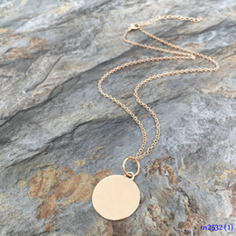 Wholesale Plastic For Engraving - Small MOQ Bulk Personalized Blank Charms Necklace For Girle Fashion Engraved Simple 22mm Copper Disc Pendant Necklace