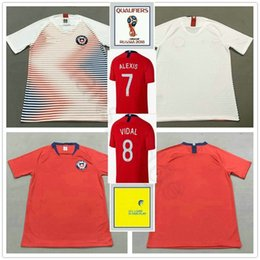 alexis jersey Promo Codes - 2018 World Cup Chile Soccer Jersey 7 Alexis Sanchez A.VIDAL MORA CONTRERAS CAMPOS PINILLA VARGAS Custom Home Away Red White Football Shirt