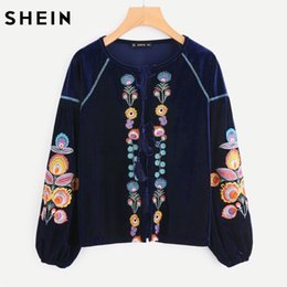 Wholesale Flower Blouse Puff Sleeves - SHEIN Tassel Tie Flower Embroidered Velvet Blouse Womens Long Sleeve Tops Multicolor Floral Bishop Sleeve Blouse