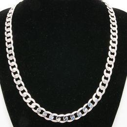 Argentina Cadena de bordillo macizo de 10 mm de ancho, oro blanco de 18K con estilo clásico, pulido, para hombre, collar, joyería, 24 pulgadas Suministro