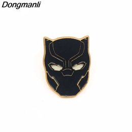 Schwarzer stoffrucksack online-P2188 Dongmanli wholesale 20pcs lot Black Panther Enamel metal Badges Pins backpack cloth brooch Cosplay Collection Gift