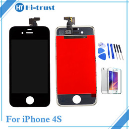 Wholesale Iphone 4s Screen Lcd - 1 Pcs Free Shipping Grade AAA+++ Quality For iPhone 4s LCD display Touch Screen Digitizer Assembly Replacement With Tools