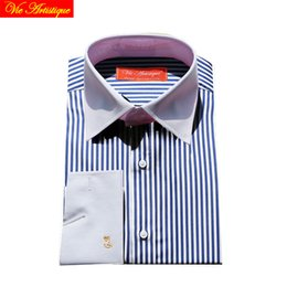 Wholesale Shirt Tailor - design men's long sleeve white blue striped cotton dress shirts tailored 6789 XL business office slim fit 2018 spring summer VA