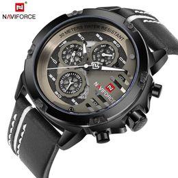 Wholesale Shark Analog Watches - NAVIFORCE Mens Watches Top Brand Luxury Waterproof 24 hour Date Quartz Watch Man Leather Sport Wrist Watch Men Waterproof Clock