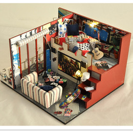 "Wholesale Wood Toys Furniture Doll House - Miniature Wood Doll House Furniture DIY Dollhouse Kit Assembling Toys for Child Friend's Gift,""Final Fantasy"" Doll's House"
