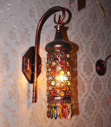 Wholesale Headlight Switch Knob - European style of the ancient Mediterranean iron crystal lamp lens headlight creative small bedroom bedside lamp wall lamp in Southeast Asia