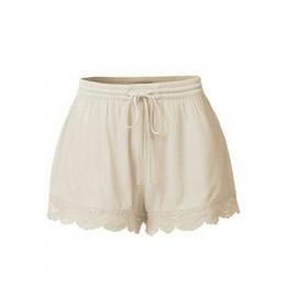 calças vintage shorts Desconto Praia Verão Shorts Mulheres Sólidos Cintura  Elástica Arco Com Cordão Mini Shorts 8240e76ec4956