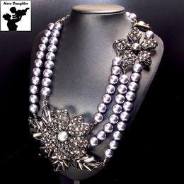 Wholesale Vintage Austrian Crystal Necklace - whole saleCute Statement Vintage Baroque Black Pearl Necklace Long Chain Big Austrian Crystal Chunky Pearl Necklace for Women Unique 2017