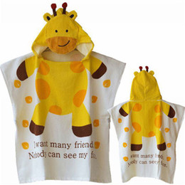 Wholesale Infant Hooded Towels - 100% Cotton Baby Beach Gown Child Bathrobe Beach Towels Cloak Cape Infant Cartoon Animal Hooded Baby Bath Towel