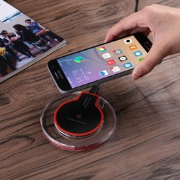 Wholesale Mobile Charger For Phone - Qi Wireless Charger For Iphone X 8 Samsung Magnetic Induction Mobile Phone Fast Charging Round Pad Illuminate Wireless Charger Retail box