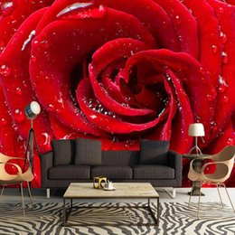 Wholesale 3d rose wall - Wholesale- Custom 3D Large Mural Big Red Rose Romantic And Warm Photo Wallpaper For Wedding House Wall Mural 3D HD Wallpaper On The Walls