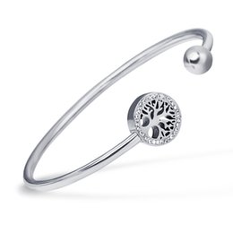 Wholesale Buckle Tree - whole sale316L Stainless steel bracelet crystal Christmas tree Buckle bangles for women party gifts