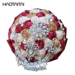 Matrimonio bouquet stile coreano high-end personalizzato sposa mano che tiene fiore perla simulazione avorio rose rosa Rosso verde arredamento fai da te cheap pink roses decor da decorazione rosa rosa fornitori