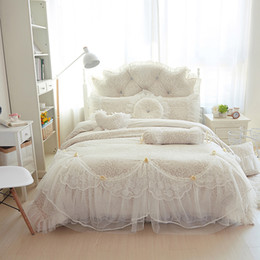 Wholesale Lace Luxury Duvet Sets - Wholesale-Luxury fleece+lace winter Bedding Sets Full Queen King Double size 4pcs 8pcs Wedding Bed skirt set Duvet Cover For Girls Gifts